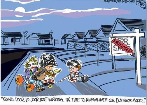 Trick or treat business model cartoon