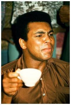 Muhammad Ali Drinking Coffee